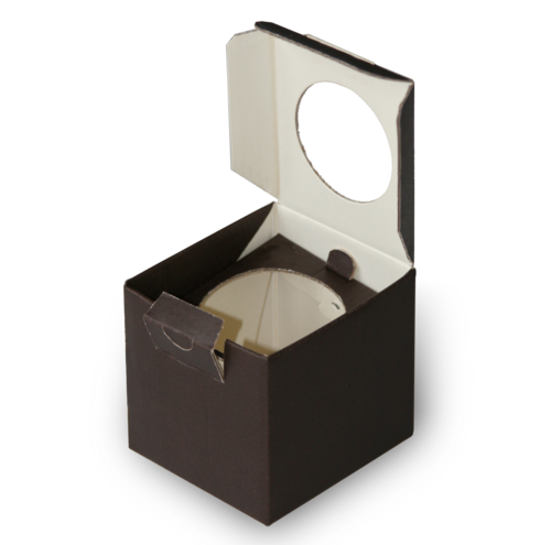 Folding box with hinged lid, viewing window and plug closure for Christmas tree decorations