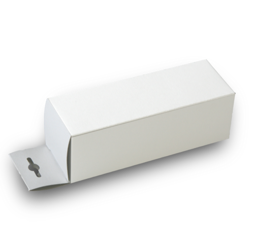 Hinged cardboard box made of white solid cardboard with a Euro flap