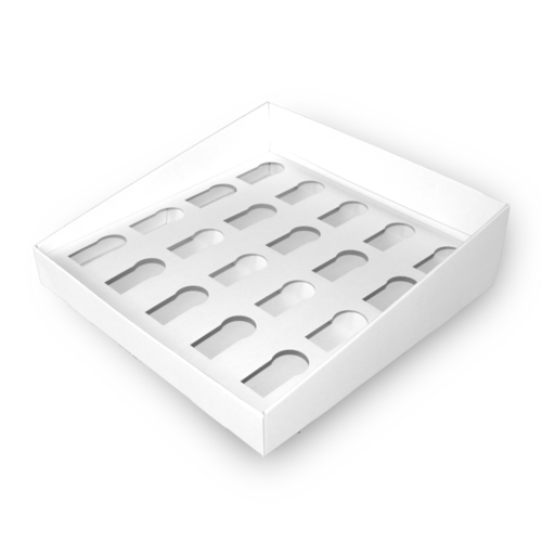 Tray with compartments made of corrugated cardboard white / white