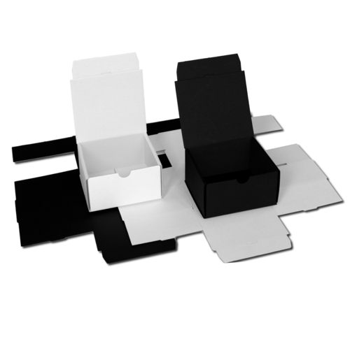 Folding boxes in white or black / solid color